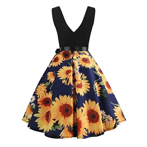 Landfox Dress, Women's Sleeveless Fashion Elastic Print Vintage Flare Dress Blue]()