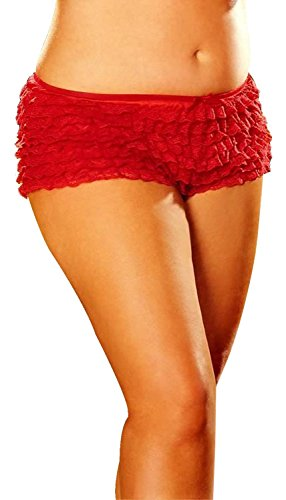 Ruffle Short(Red-One Size) - Shirley Lace Teddies Of Hollywood