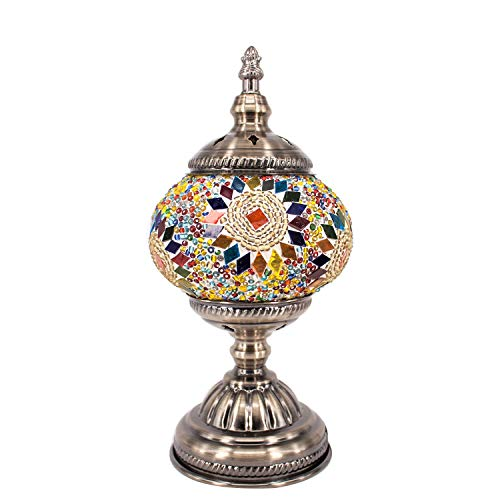 - Kindgoo Turkish Lamp Mosaic Table Lamp Handmade Multicolored Glass Shade Led Bulb Included (Yellow)
