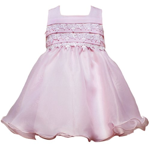 Rare Editions Baby/INFANT 12M-24M 2- Piece PINK PLEATED LACE LINEN ORGANZA WIRE HEM Special Occasion Flower Girl Easter Party Dress