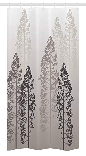Ambesonne Country Stall Shower Curtain, Pine Trees in The Forest on Foggy Seem Ombre Backdrop Wildlife Adventure Artwork, Fabric Bathroom Decor Set with Hooks, 36 X 72, Warm Taupe