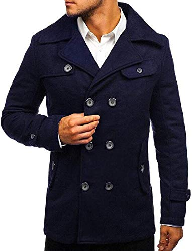 Asidwu Mens Double Breasted Pea Coat Wool Blend Jacket Trench Coats,Navy Blue,X-Small