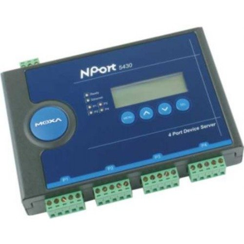 MOXA NPort 5430 4-Port Device Server Without Power Adapter, 10/100 Ethernet, RS-422/485, Terminal Block by Moxa