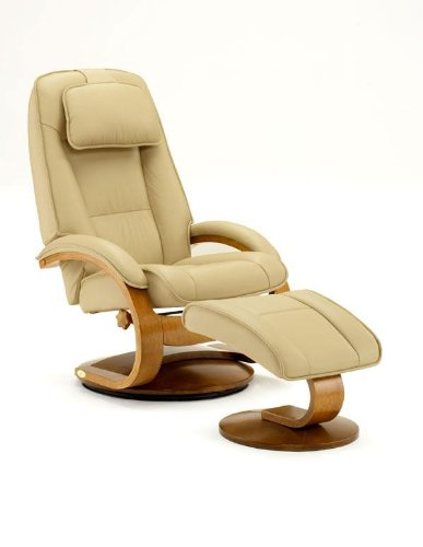 Mac Motion Oslo Collection Recliner with Matching Ottoman in Cobblestone Top Grain Leather with Walnut - Seating Collection Theater