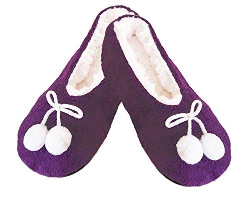 Damen Mädchen ULTRA COSY weichen warmen COREL FLEECE Hausschuhe mit Ripsband TO FIT UK 4-7, EUR 37-40. Violett