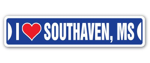I Love Southaven, Mississippi Street Sign ms City State us Wall Road décor ()