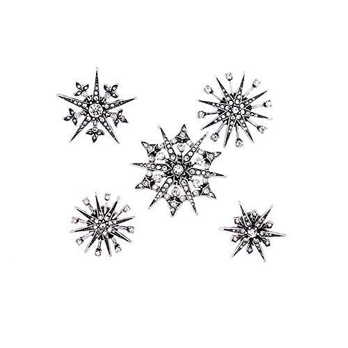 Joji Boutique Vintage-Style Silver Crystal Starburst Pin Set ()