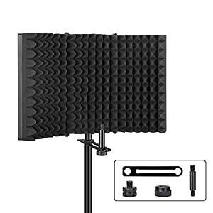 Aokeo Professional Studio Recording Microphone Isolation Shield, Pop Filter.High density absorbent foam is used to…