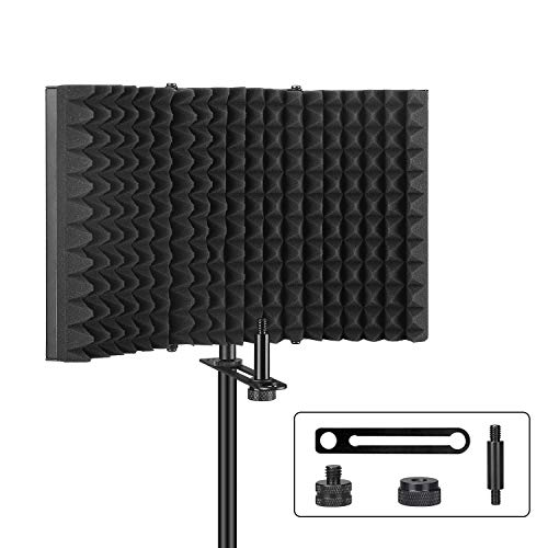 (Pop Filter,Aokeo Professional Microphone Isolation Shield,Foldable Adjustable Mic Isolator Panel, for Any Condenser Microphone Recording Equipment Studio(AO-403))