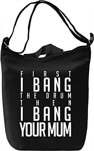 White Bang The Drum Borsa Giornaliera Canvas Canvas Day Bag| 100% Premium Cotton Canvas| DTG Printing|