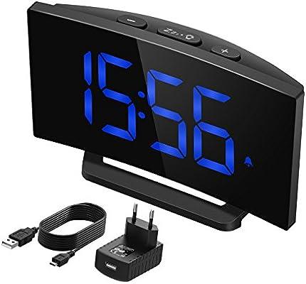 Mpow Reloj Despertador Digital, Reloj de Pantalla Curva LED de 5 Pulgadas y Atenuador, 3 Sonidos de Alarma con 6 Brillo Ajustable, Función Snooze para ...