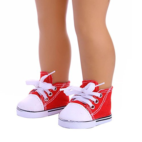 Wensltd Clearance! Cute Canvas Lace Up Sneakers Shoes For 18'' American Girl Our Generation Doll (Red)