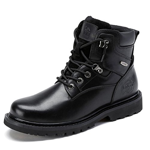 Camel Men's Black Work Boots Steel Composite Genuine Leather Combat Motorcycle Sneakers Safety Toe Ankle Boots for Men