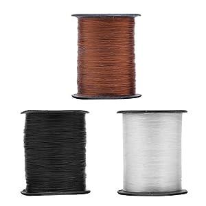 Freebily 3 Rolls Fishing Thread Nylon Wire DYI Jewellery Making Beading String 0.25mm Chocolate & Black & White