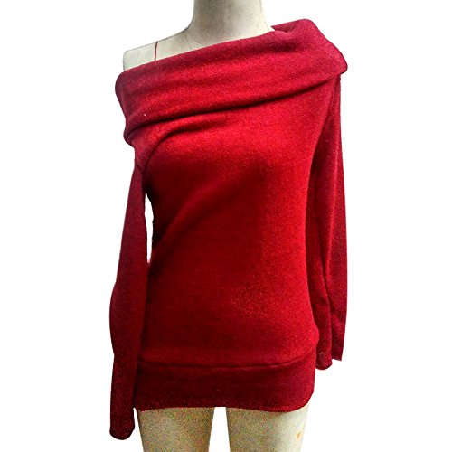 Chandail Printemps pour Femme Casual Sfit Sweater Longue Automne Denudee Bordeaux Pull Manche Epaule BCnwZxqg4
