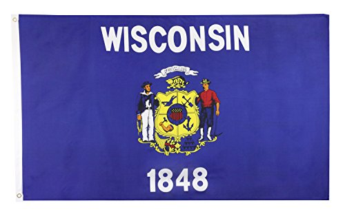 Shop72 US Wisconsin State Flags - Wisconsin Flag - 3x5' Flag from Sturdy 100D Polyester - Canvas Header Brass Grommets Double Stitched from Wind Side