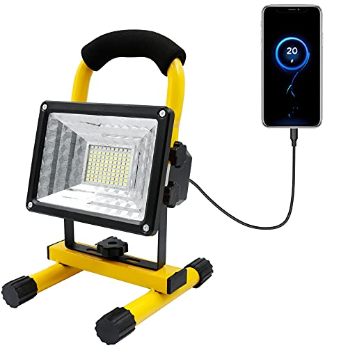 LED Baustrahler Akku, CYI 30W Arbeitsleuchte LED Flutlicht, IP65 Wasserdicht Tragbares Baustellen Strahler…