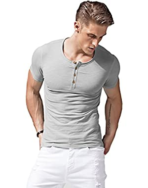 Mens Short Sleeve Button up T Shirts Henley Slim Fit Athletic Casual Tee