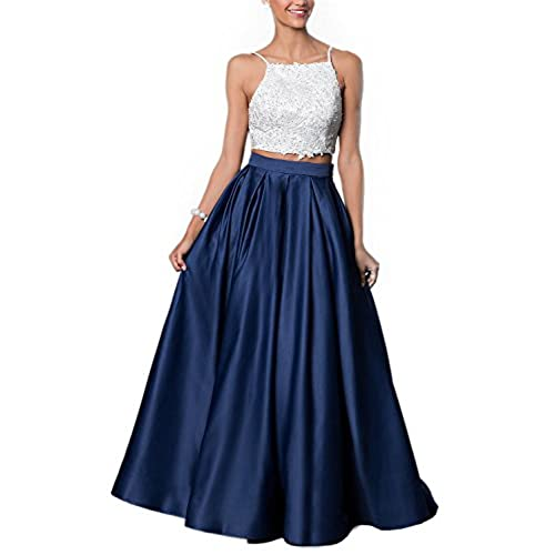 Miss Chics Long Formal Dresses with Spaghetti Strap For Womens Prom Gowns 2017 US Size 8 Navy