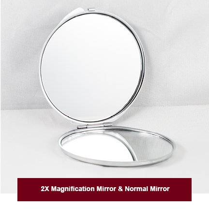 Depart Makeup Mirror Compact Magnifying Make Up Pocket Mirror Portable Double Sided Mirrors with 2X Magnification and 1X Mirror for Travel, Purses and Birthday Gift. silver