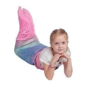 "Kids Mermaid Tail Blanket,Plush Soft Flannel Fleece All Seasons Sleeping Blanket Bag,Rainbow Ombre Glittering Fish Scale Design Snuggle Blanket,Best Gifts for Girls,17""×39"""