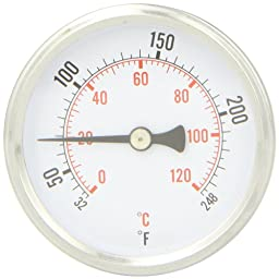 PIC Gauge B2B1-K Aluminum Bimetal Hot Water Thermometer with Removable Brass Well Attached, Back Connected, 2 1/2\