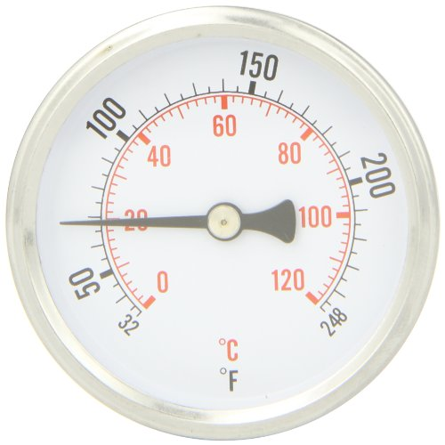 PIC Gauge B2B1-K Aluminum Bimetal Hot Water Thermometer with Removable Brass Well Attached, Back Connected, 2 1/2