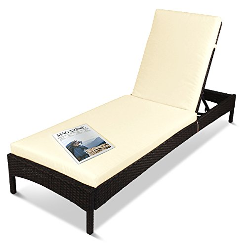 Outdoor Patio Reclining Chaise Lounge Chair, Adjustable Resin Wicker Lounger Furniture with Rust-Resistant Aluminum Frame, with Cushions (Brown & - Resin Adjustable