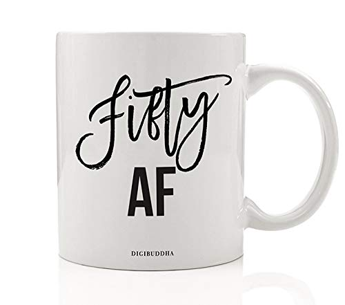 50th BIRTHDAY Coffee Mug FIFTY AF Fiftieth Birthday Party Men Women Gift Ideas Celebrating The BIG 5 0 Wife Husband Mom Dad Sister Brother Friend Office
