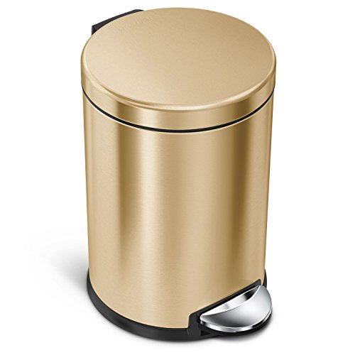 (simplehuman 4.5 Liter / 1.2 Gallon Compact Stainless Steel Round Bathroom Trash Can, Brass Stainless Steel)