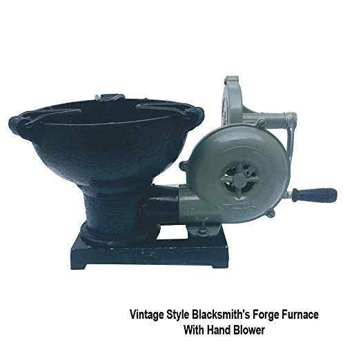 Vintage Style Blacksmith's Forge Furnace with Hand Blower Pedal Type Handle Fan (Best Forge For Beginners)