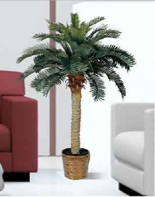 Artificial Palm Trees Indoor Outdoor Sago Silk 4 Foot Potted Fake Tree Natural -