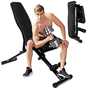 BOSWELL Adjustable Workout Bench for Home Gym,Foldable Mulit-Purpose Incline Decline Exercise Workout Bench,Full Body Workout Home Training,Strength Training with Fast Folding