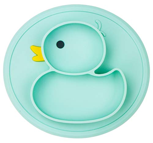 Silicone Divided Toddler Baby Plates - Portable Non Slip Suction Plates for Children Babies and Kids BPA Free FDA Approved Baby Dinner Plate