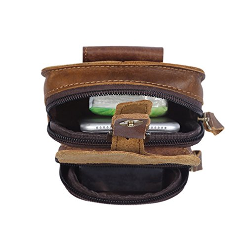 VBIGER Men Cowhide Waist Bag Retro Waist Pack Fanny Bag Cellphone Waist Pouch by VBIGER (Image #5)