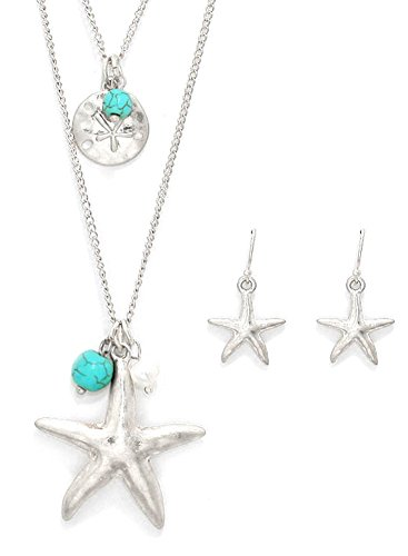 PURE PLANT HOME Double Strand Matte Silver Tone Starfish Necklace and Earrings Set 16-18 Inches