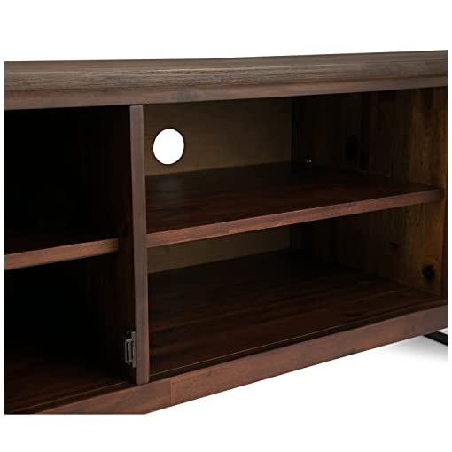 Living Room SIMPLIHOME w TV Media Stand, 63 inch Wide, Modern Industrial, Storage Shelves and Cabinets Simpli Home Lowry SOLID WOOD… modern tv stands