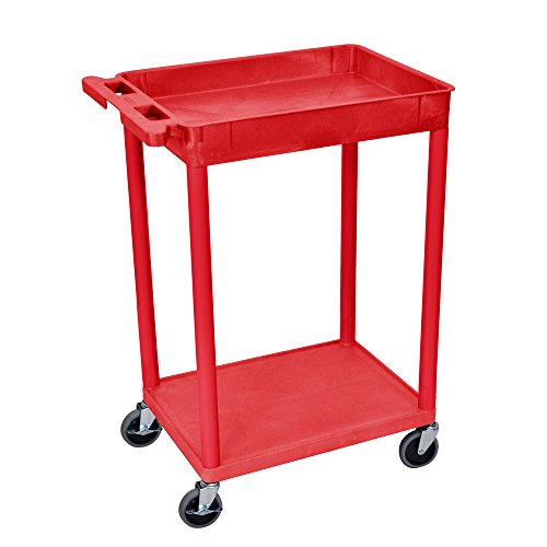 Offex Top Tub and Bottom Flat Shelf Cart, Red ()
