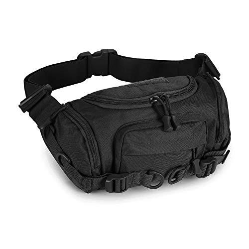 Huntvp Military Fanny Pack Tactical Waist Bag Pack Bumbag Shoulder Bag Crossbody Bag Water-Resistant Hip Belt Bag Pouch,Black