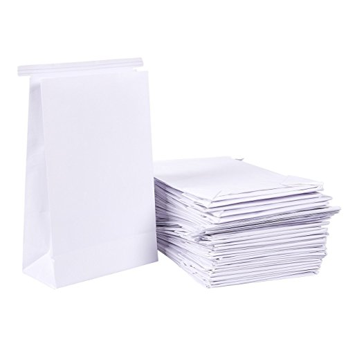 50-Pack Vomit Bags - No Print Plain White Emesis Barf Bags for Motion Sickness and Morning Sickness, Paper Puke Bag, 6 x 2.6 x 9.7 inches by Juvale