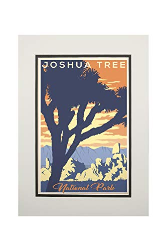 Joshua Tree National Park, California - Lithograph (11x14 Double-Matted Art Print, Wall Decor Ready to Frame)