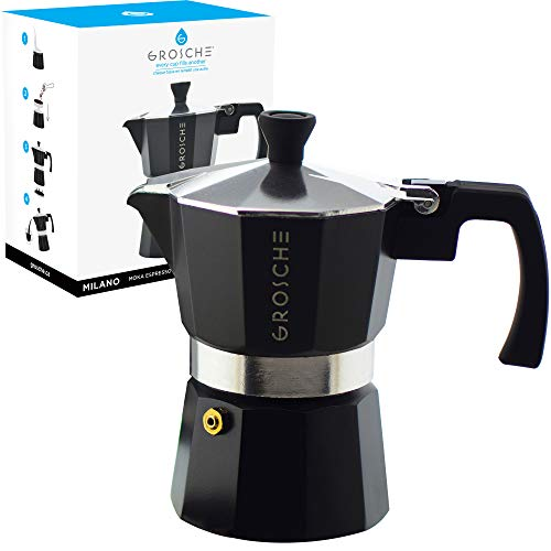 GROSCHE Milano Moka 3-Cup Stovetop Espresso Coffee Maker with Italian Safety Valve and Protection Handle, ()