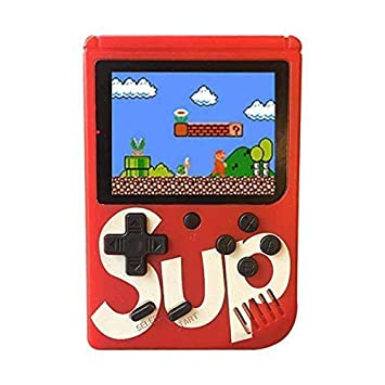 KKRONAS Colourful LCD Screen USB Rechargeable Portable Retro Battery Handheld Console Sup Port Video Game with 400 in 1 Classic Old Games (Red)