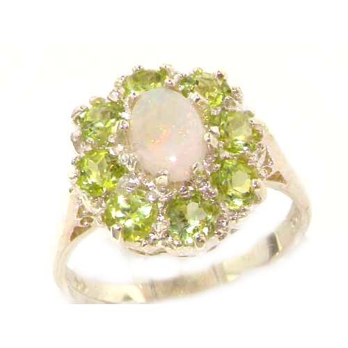 925 Sterling Silver Natural Opal and Peridot Womens Promise Ring - Size 7.5 by LetsBuySilver