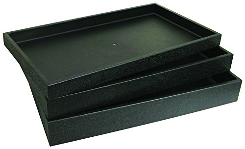 Black Slot Jewelry 72 - 72 Slot Black Jewelry Travel Ring Insert Display Pad with Stackable Tray