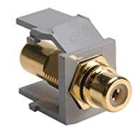 Leviton 40830-BGE QuickPort RCA, Gold-Plated Connector with Black Stripe, Grey