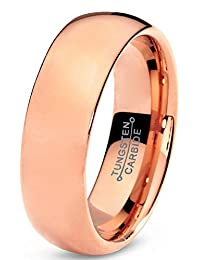 Tungsten Wedding Band Ring 7mm for Men Women Comfort Fit 18K Rose Gold Plated Domed Polished Lifetime Guarantee