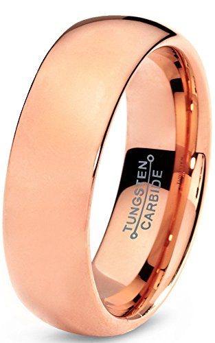 Charming Jewelers Tungsten Wedding Band Ring 7mm for Men Women Comfort Fit 18K Rose Gold Plated Plated Domed Polished