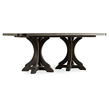 Hooker Furniture Corsica Rectangular Pedestal Dining Table in Light Wood with 2 x 20 Leaves