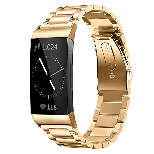 Shangpule Compatible for Fitbit Charge 3 and Charge3 SE Bands, Stainless Steel Metal Replacement Strap Bracelet Wrist Band Accessories for Charge 3 Smart Watch Women Man Large Small (Gold)